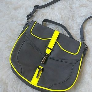 """Callie"" Neon Trim Messenger Bag"